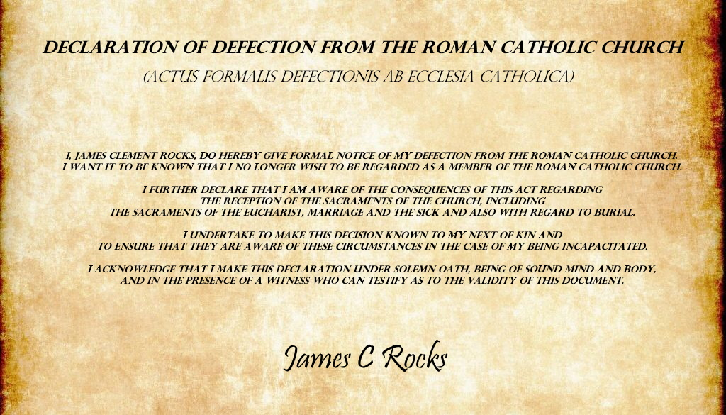 Declaration of Defection from the Roman Catholic Church